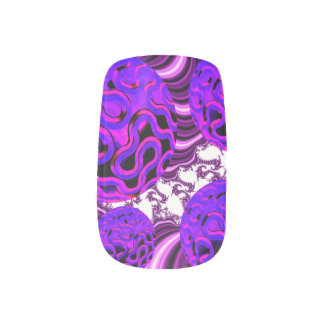Blueberry Splash, Abstract Fractal Purple Fruit Minx® Nail Wraps