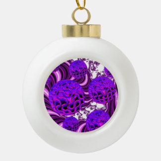 Blueberry Splash, Abstract Fractal Purple Fruit Ornaments