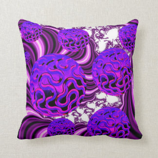 Blueberry Splash, Abstract Fractal Purple Fruit Throw Pillows
