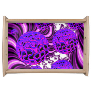 Blueberry Splash, Abstract Fractal Purple Fruit Serving Tray