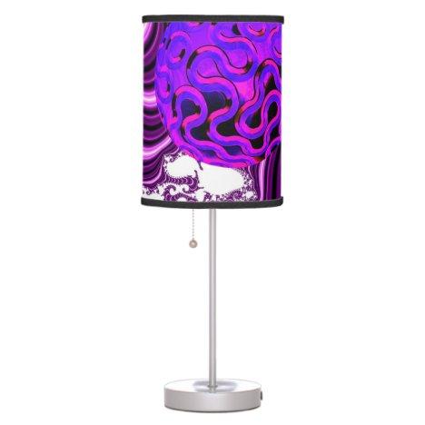 Blueberry Splash, Abstract Fractal Purple Fruit Table Lamp