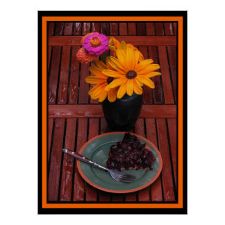 Blueberry Tart and Flowers Print