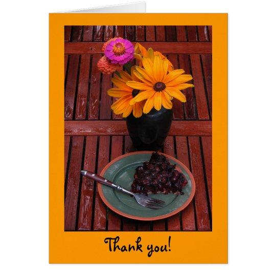 Blueberry Tart & Flowers Thank You Card