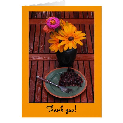 Blueberry Tart & Flowers Thank You Greeting Card