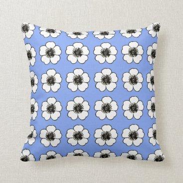 Beach Themed Blueberry & White Petunia's(c)M-L-Pillow Throw Pillow