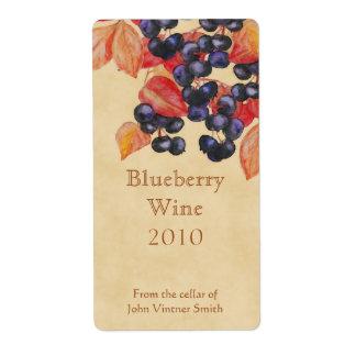 Blueberry wine bottle label