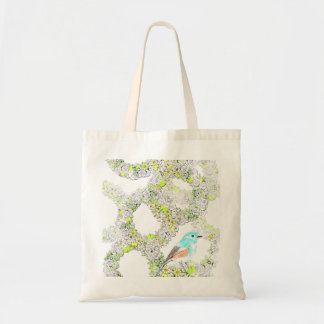 bluebird and flower design tote
