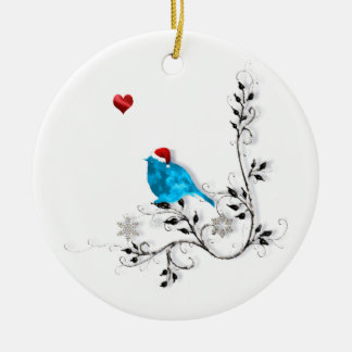 Bluebird and Heart! Double-Sided Ceramic Round Christmas Ornament