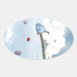 Bluebird and Hearts Oval Sticker