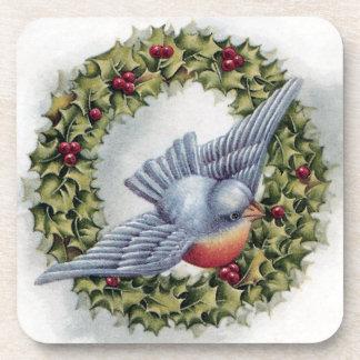 Bluebird and Holly Wreath Vintage Christmas Drink Coaster