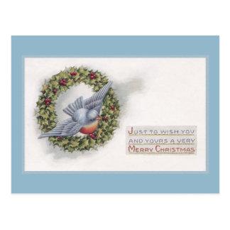 Bluebird and Holly Wreath Vintage Christmas Postcard