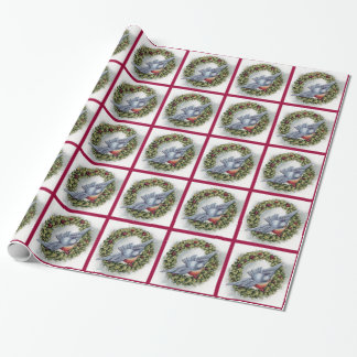 Bluebird and Holly Wreath Vintage Christmas Wrapping Paper