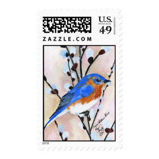 Bluebird and pussy willow stamp