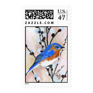 Bluebird and pussy willow postage stamp