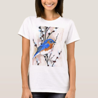 Bluebird and pussy willow T-Shirt