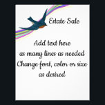 """Bluebird and Rainbow, Customizable Text Flyer<br><div class=""""desc"""">This eye catching flyer has a bluebird and rainbow in the upper left corner. You can change the text on the front to meet any need. The text on the back can be edited or it can be removed completely. You can also add a logo or your own image on...</div>"""
