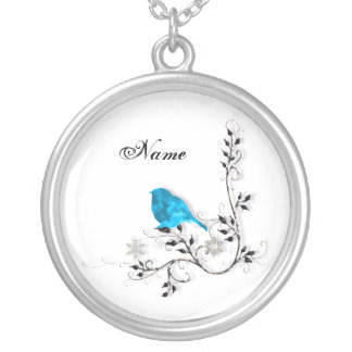 Bluebird and Snowflakes Round Pendant Necklace