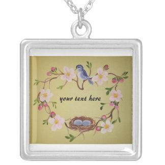 Bluebird & Apple Blossoms Square Pendant Necklace