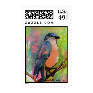 """""""Bluebird at Sunset"""" Painting Postage Stamp"""