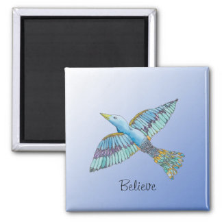 Bluebird Believe 2 Inch Square Magnet