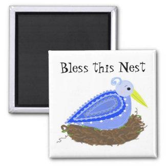 Bluebird - bendiga esta jerarquía imán cuadrado