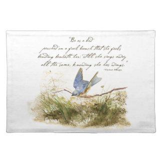 Bluebird Bird on Branch Victor Hugo Poem Cloth Placemat