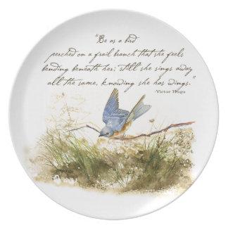Bluebird Bird on Branch Victor Hugo Poem Dinner Plate