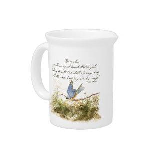 Bluebird Bird on Branch Victor Hugo Poem Drink Pitcher