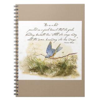 Bluebird Bird on Branch Victor Hugo Poem Notebook