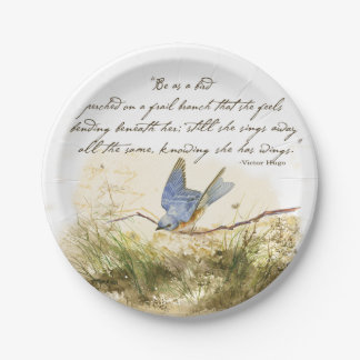 Bluebird Bird on Branch Victor Hugo Poem Paper Plate