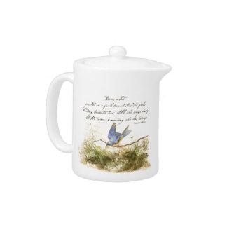 Bluebird Bird on Branch Victor Hugo Poem Teapot