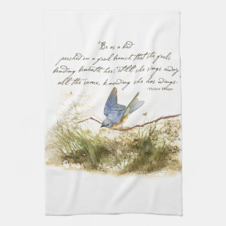 Bluebird Bird on Branch Victor Hugo Poem Towel