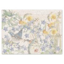 Bluebird Birds Narcissus Flowers Tissue Paper