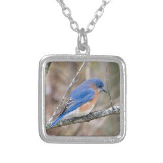 Bluebird Blue Bird in Tree Square Pendant Necklace