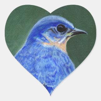 Bluebird Canvas Painting Heart Sticker