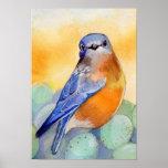 Bluebird con la acuarela de los huevos impresiones