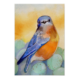 Bluebird con la acuarela de los huevos póster