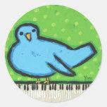 bluebird con los pegatinas del piano