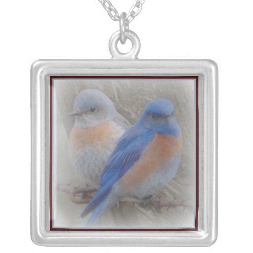 Bluebird Couple Square Pendant Necklace