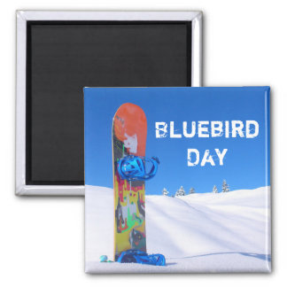 Bluebird Day, Snowboard on Snowy Slope 2 Inch Square Magnet