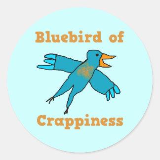 Bluebird de Crappiness Pegatina Redonda