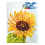 Bluebird de la felicidad con el girasol flyer personalizado