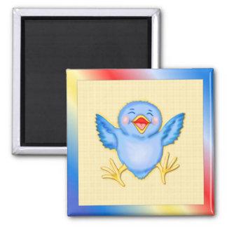 Bluebird de la felicidad imán cuadrado