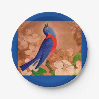 bluebird de la felicidad platos de papel