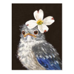 Bluebird del bebé de Helen con la postal del dogwo