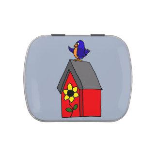 Bluebird divertido en Birdhouse Jarrones De Dulces
