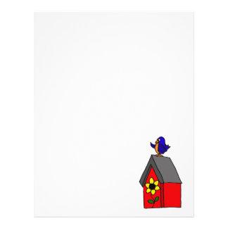 Bluebird divertido en casa roja del Bluebird Membretes Personalizados
