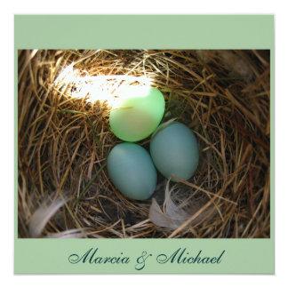 Bluebird Eggs times three 5.25x5.25 Square Paper Invitation Card