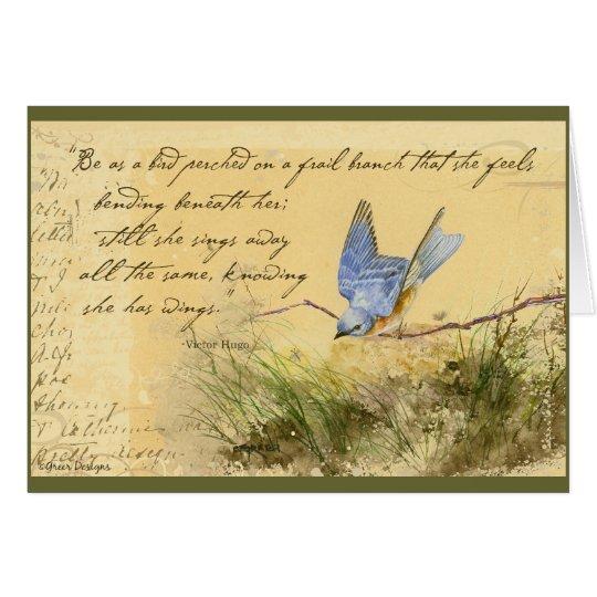 Bluebird en rama y la cita de Victor Hugo Tarjeta De Felicitación