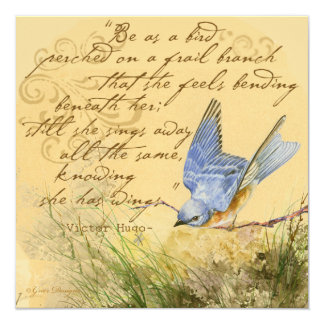 """Bluebird en una cita de Hugo de la rama Invitación 5.25"""" X 5.25"""""""